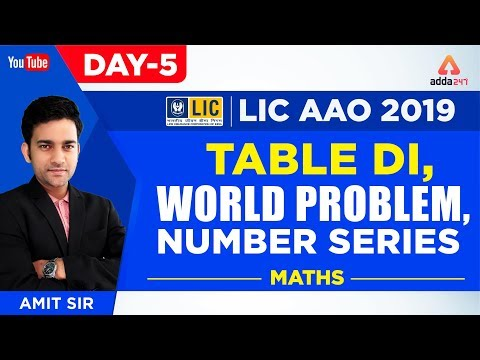 LIC AAO 2019 | Table DI, World Problem, Number Series | Maths | Day 4 | Amit Sir | 3 P.M