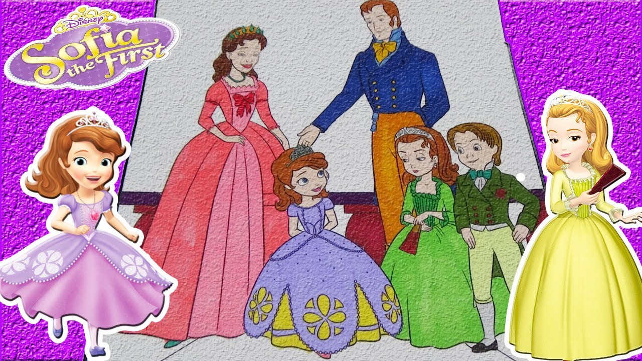 sofia the first colouring book pages sofia and family coloring video for kids