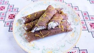 Шоколадные блины с творогом Тонкие блинчики на молоке Тесто для блинов Шоколадні млинці Налисники