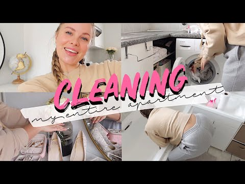 CLEAN WITH ME VLOG: Laundry & cleaning my Kitchen, Bathroom, Beauty room, Bedroom and Living room!