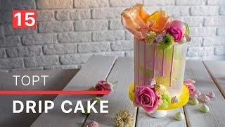 Украшаем высокий торт - крем чиз и простой шоколадный декор / Drip cake decor