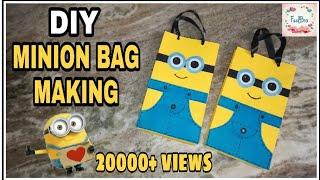 DIY How to make paperbag | MINION BAG making | diy candy bag | despicable me bag | minionbag ideas