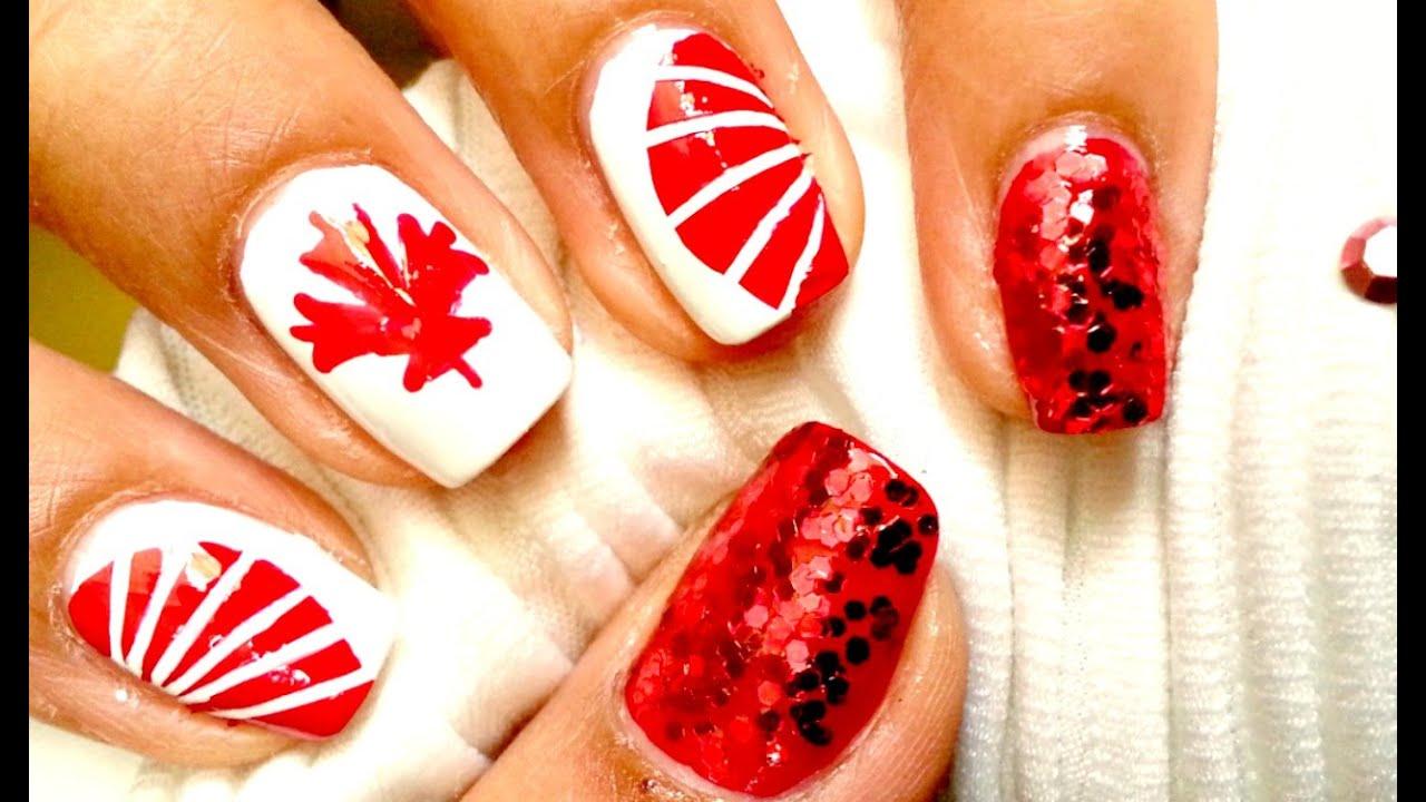 Canada Day Nail Art Diy Nail Art Design Youtube