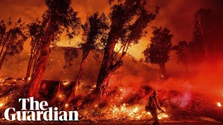 California wildfires: new blaze erupts and spreads north of Los Angeles