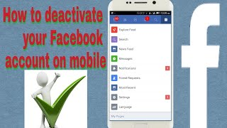 How to deactivate facebook account on mobile [temporarily]
