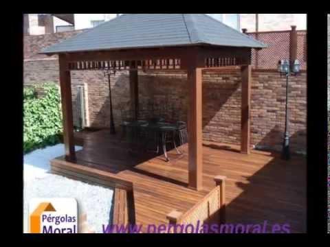 Cenadores de madera p rgolas moral madrid youtube for Cenadores de madera