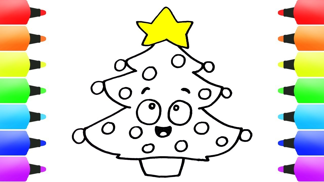 How To Draw Christmas Tree Easy! Coloring Pages For Kids