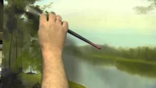 Научиться рисовать воду, реку, лесной пейзаж, масло