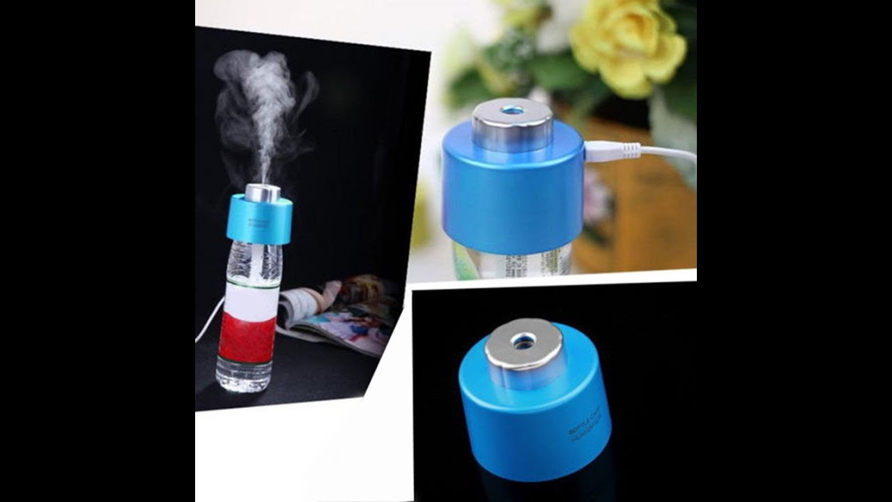 Usb portable mini water bottle caps humidifier youtube for How to use bottle caps