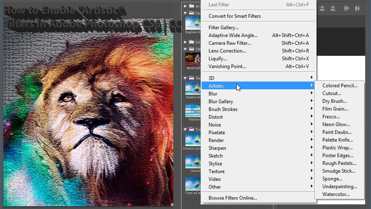 "Filter Photoshop How To Enable ""artistic"" Filters In Adobe Photoshop Cs6"