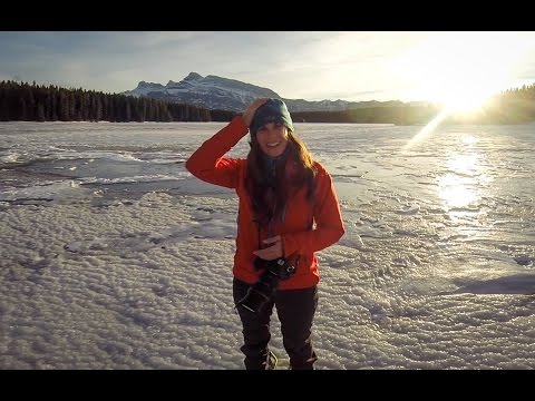 Winter Photography on Two Jack Lake in Banff, Alberta