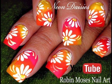 DIY Neon Daisy Nails | Hot Flower Nail Art Design Tutorial