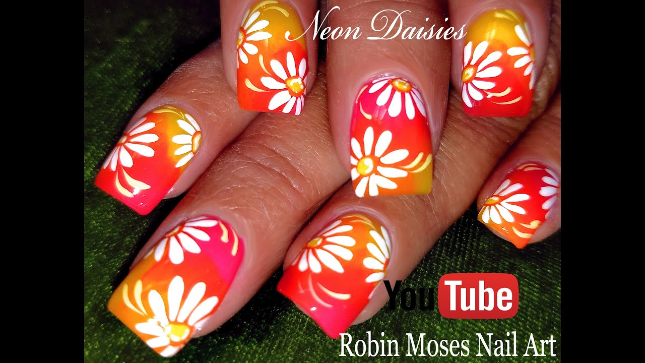 DIY Neon Daisy Nails | Hot Flower Nail Art Design Tutorial - YouTube
