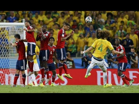 David Luiz Brilliant Free Kick Goal Vs Colombia 7/4/2014