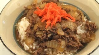How To Make Japanese Gyudon (Thinly Sliced Beef On Rice)