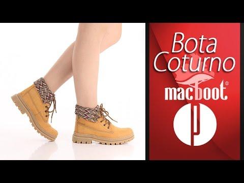 5789a3f4b Bota Coturno Feminina Macboot - Mostarda - 6010397299 - YouTube