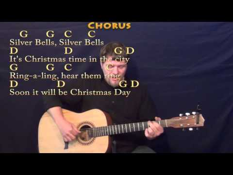 Silver Bells (Christmas) Fingerstyle Guitar Cover Lesson in G with Chords/Lyrics