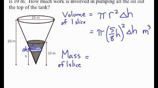 Calc 2   Work pump oil from inverted cone