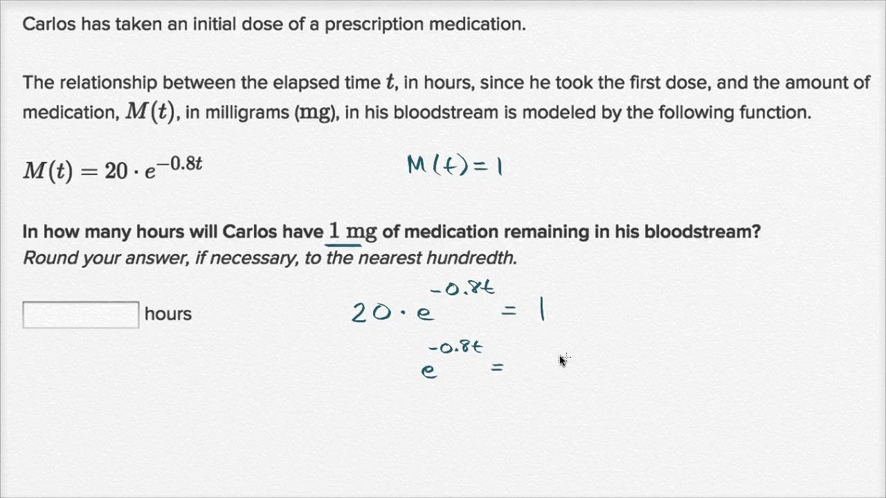 Exponential model word problem: medication dissolve (video