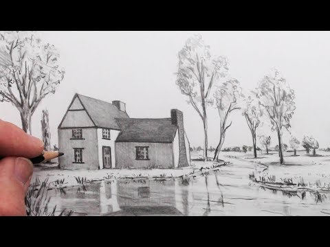 how-to-draw-a-house-in-1-point-perspective-in-a-landscape:-step-by-step
