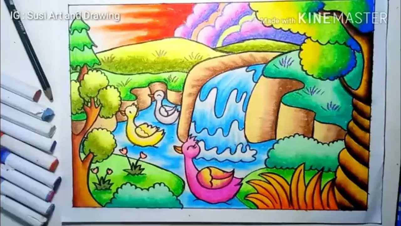Menggambar Pemandangan Air Terjun Indah How To Draw Waterfall