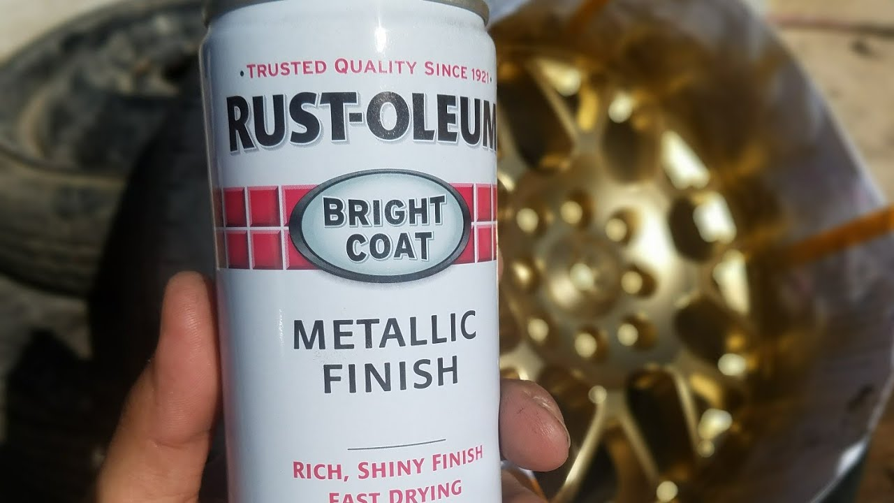 Painting car wheels with Rustoleum gold paint
