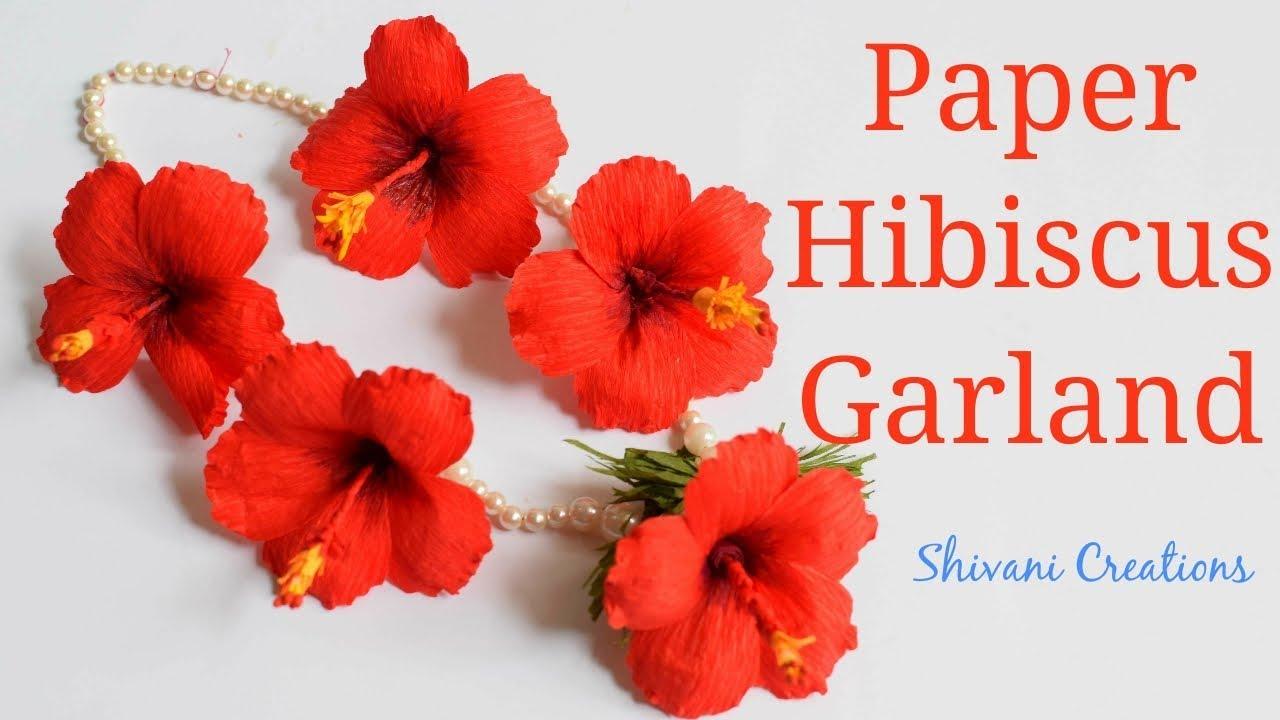 Paper hibiscus garland how to make crape paper hibiscus flower diy paper hibiscus garland how to make crape paper hibiscus flower diy flower garland for ganesha izmirmasajfo
