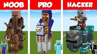 Minecraft NOOB vs PRO vs HACKER: VILLAGER STATUE HOUSE BUILD CHALLENGE in Minecraft / Animation