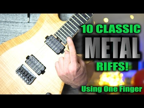 10 Classic Riffs! Only One Finger Needed!  Metallica, RAGE , Megadeth, Danzig, Pantera, Judas