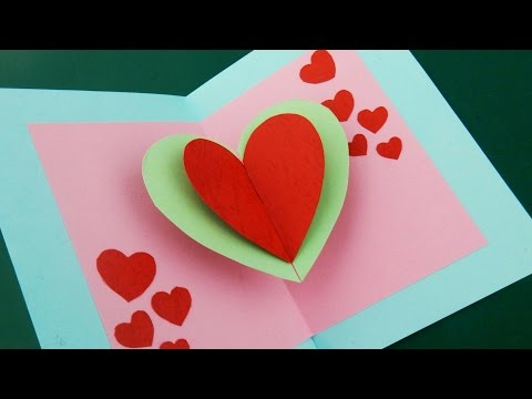 Pop up card (floating heart) - how to make a mini greeting card with a pop out heart - EzyCraft