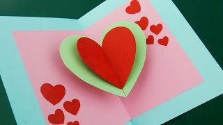 Pop up card (floating heart) - how to make a mini card with a pop out heart - EzyCraft