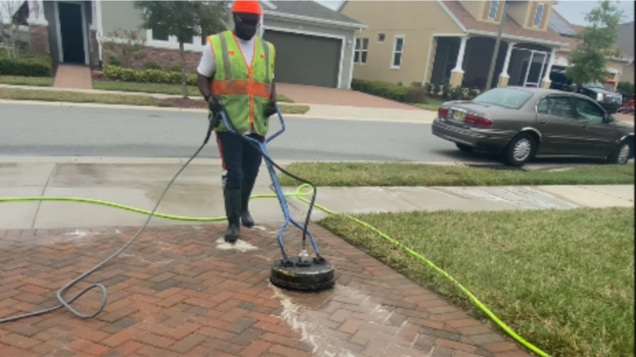 Using old 12'' surface cleaner with 4gpm to pressure wash driveway and sidewalk in 15 minutes $200
