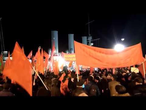 Russian communist demonstration in front of the Aurora cruiser