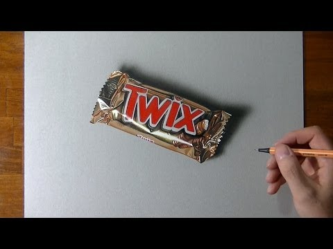 Drawing Time Lapse:Twix bar - Hyperrealistic art