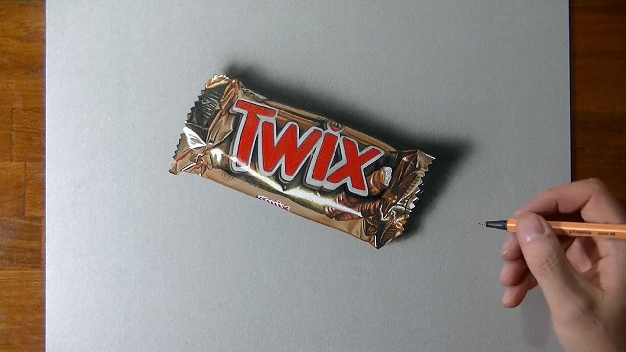 Uncategorized How To Draw Candy Bars drawing time lapsetwix bar hyperrealistic art youtube