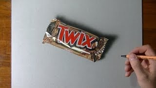 Hyperrealistic speed drawing of a Twix bar