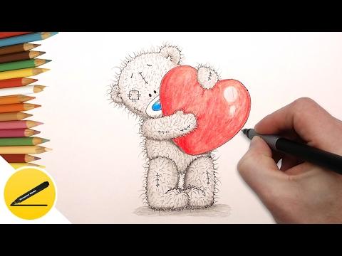 Как Нарисовать Мишку Тедди с сердцем Святого Валентина ❤ поэтапно и легко для начинающих