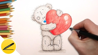 How to Draw a Teddy Bear with a Valentine