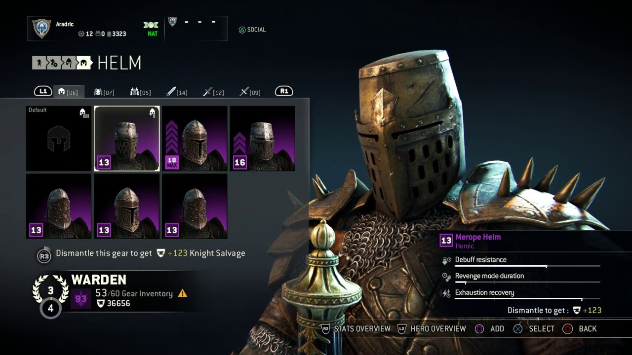 for honor warden heroic armor set merope helm chest and arms