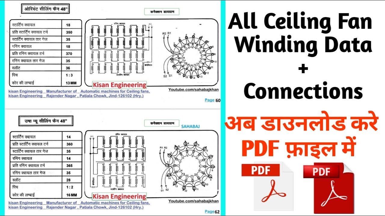 All Ceiling Fan Winding Data With Connections Download Pdf File All Winding Data Youtube