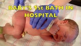 Baby's First Bath in Hospital - Umbilical Cord Care - How To Bathe a Newborn - Infant Care