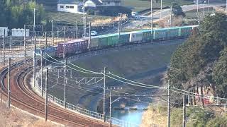 2018/01/21 JR貨物 カナキク俯瞰からの眺め 午前9時台の1068レ 5052レ 1097レ