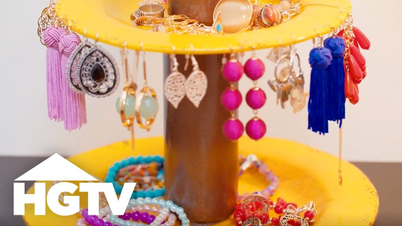 DIY Jewelry Holder Made From Plates - Easy Does It - HGTV & DIY Jewelry Holder Made From Plates - Easy Does It - HGTV - YouTube
