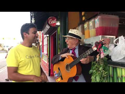 Guitar artist in Little Havana (Miami) playing music with Shiny Leaf