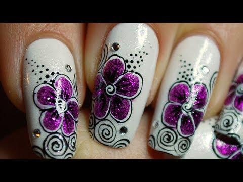 tuto nail art 'une fleur fuchsia
