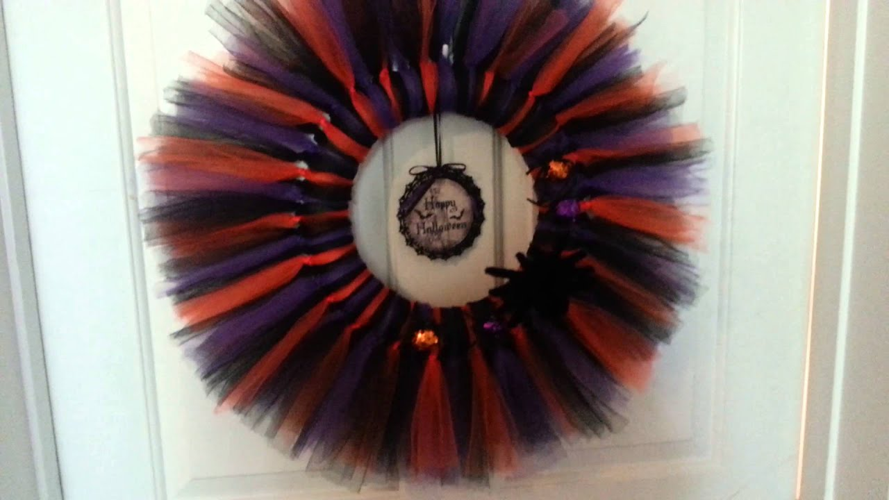 Diy halloween wreath - Diy Halloween Tulle Tutu Wreath Share