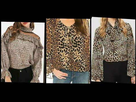 Top Trandy Dolce And Gabana V Cutout Bishop Sleeves Leopard Print Blouse Top And Shirts