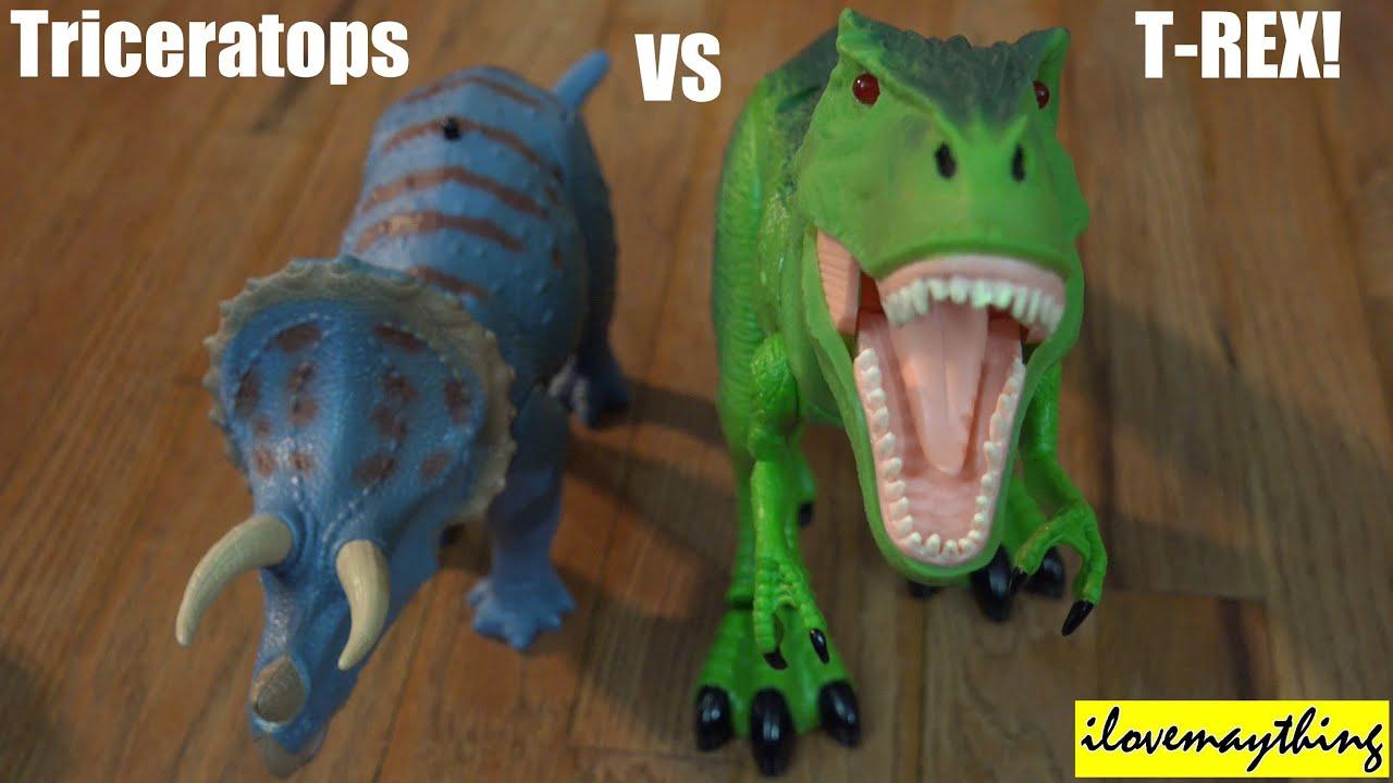 T Rex Dinosaur Toy : Dinosaur toys r c t rex vs triceratops dinosaurs unbox