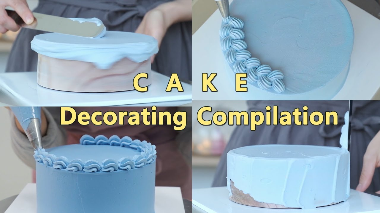 Cake decorating compilation 생크림케이크 아이싱하기 - YouTube