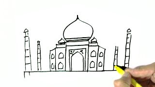 How to draw The Taj Mahal - in easy steps for children. beginners